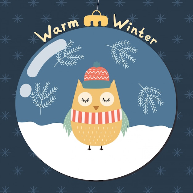 Warm winter greeting card with a cute owl inside a glass ball. merry christmas. vector illustration Premium Vector