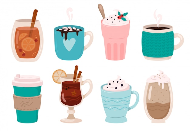 Warming winter drinks. hot chocolate, cocoa with marshmallows and whipped cream. mulled wine in winters mug  illustration set Premium Vector