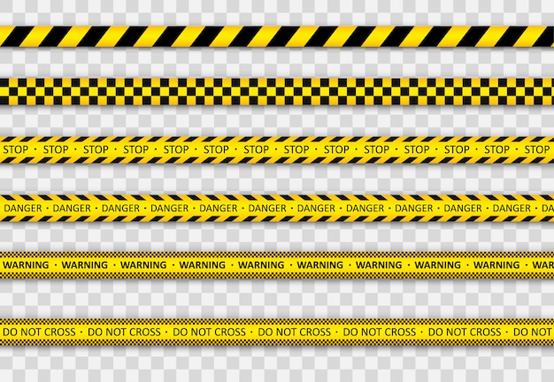 Warning black and yellow striped line. Premium Vector