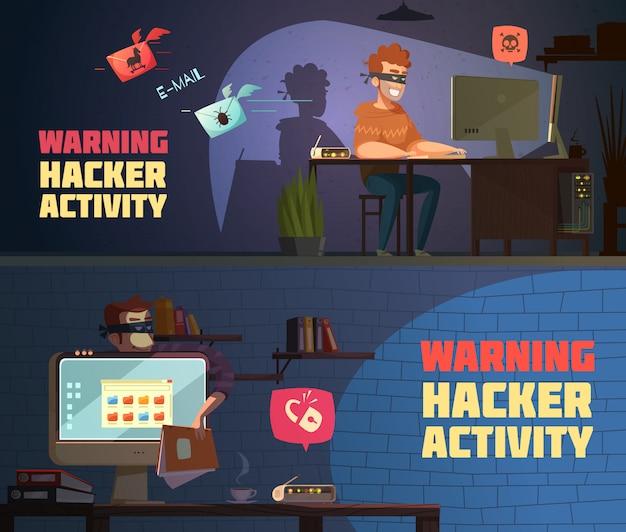 Warning hacker activity 2 retro cartoon horizontal banners Free Vector