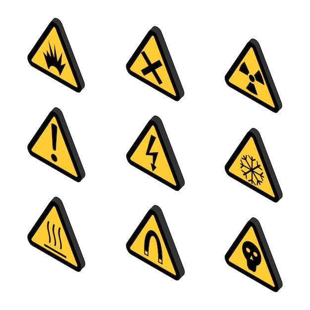 Warning icons, toxin and danger Premium Vector
