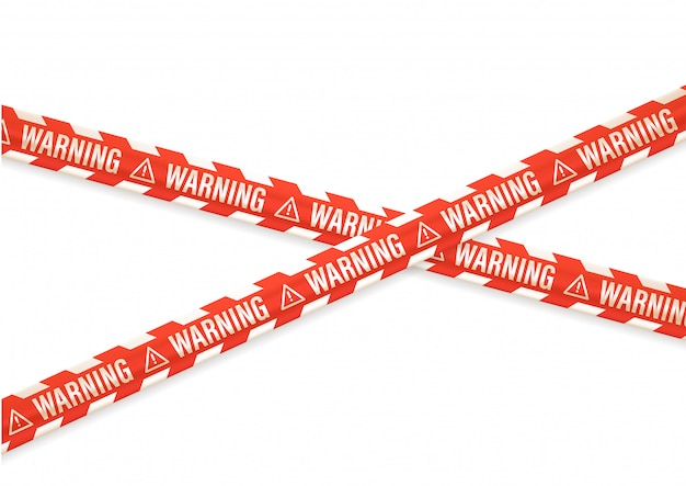 Предупреждающее уведомление с лентами на белом Premium векторы