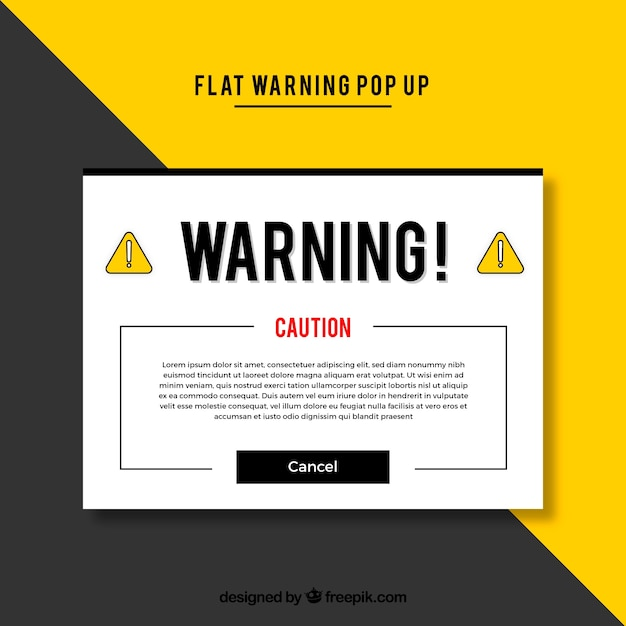 Warning pop up template with flat design Free Vector