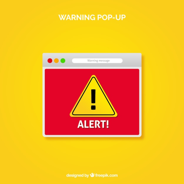 Warning pop up with flat design Premium Vector