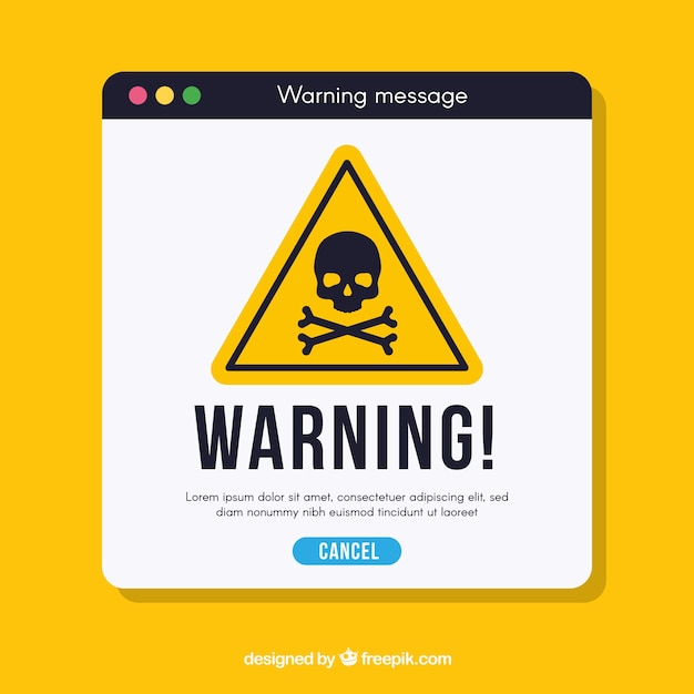 Warning pop up with flat design Free Vector