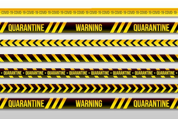 Warning quarantine stripes and stay home Free Vector