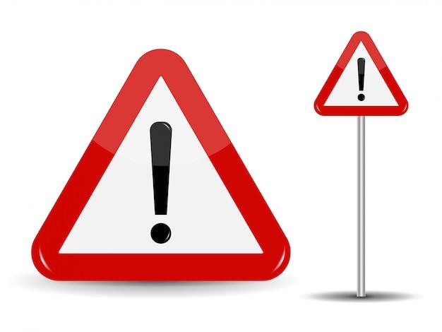 Предупреждение дорожный знак красный треугольник с восклицательным знаком. Premium векторы