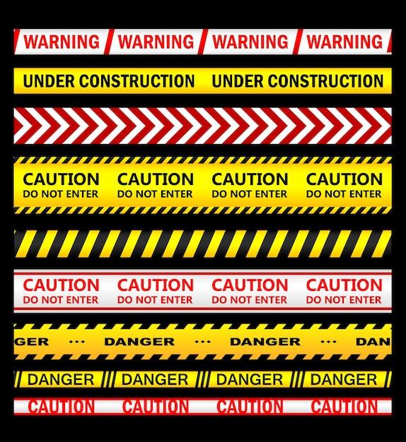 안전, 범죄 또는 금지 된 디자인을위한 경고, 보안 및주의 리본 및 테이프 세트 프리미엄 벡터