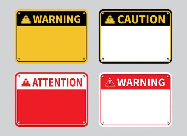 Предупреждающий знак. пустой знак внимания. Premium векторы