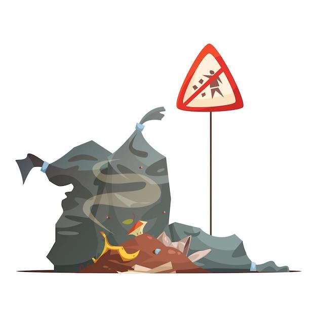 Segnale di pericolo di immondizia improprio e smaltimento dei rifiuti per prevenire le strade della città sporcare fumetto illustrazione vettoriale Vettore gratuito