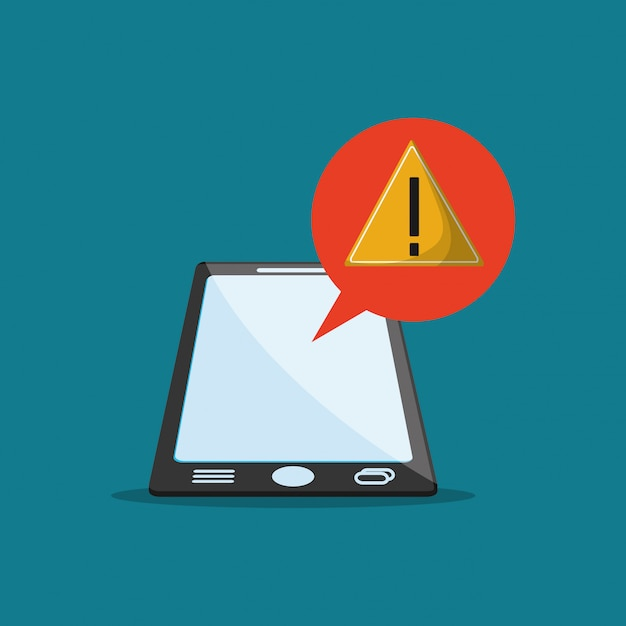 Warning sign notification and cellphone image Premium Vector