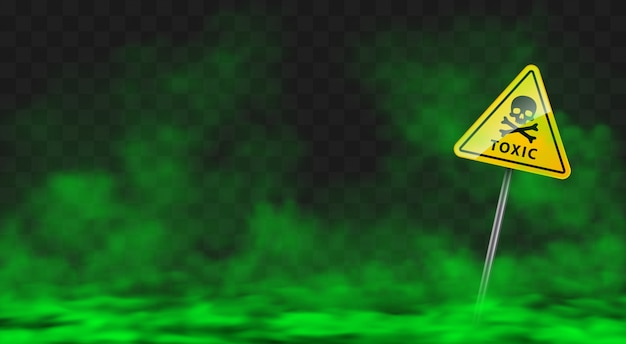 Warning sign in toxic green smoke or fog clouds Free Vector