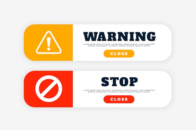Warning and stop sign button for web purpose Free Vector