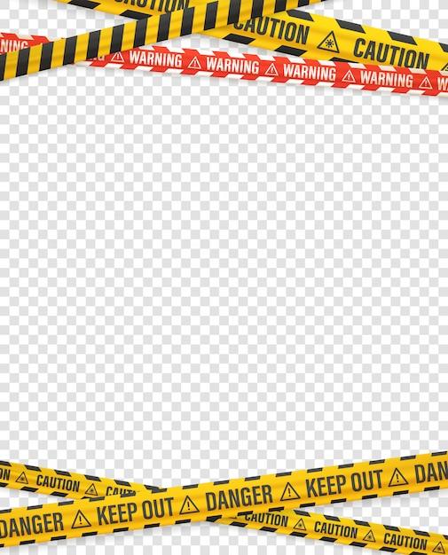 Предупреждающие ленты на прозрачном фоне. векторный дизайн шаблона Premium векторы