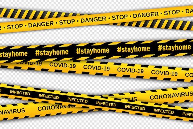 透明な背景に黄色と黒のテープを警告します。安全柵リボン。グローバルパンデミックコロナウイルス。 Premiumベクター