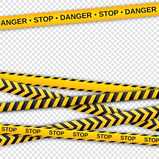 警告の黄色と黒のテープ。安全柵リボン。 Premiumベクター