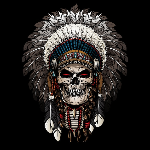 Warrior of indian skull Premium Vector