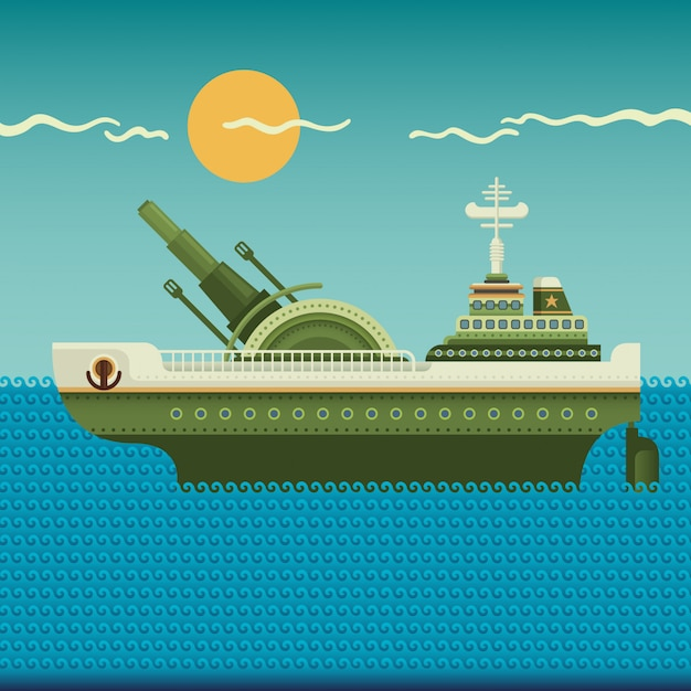 Warship illustration Premium Vector