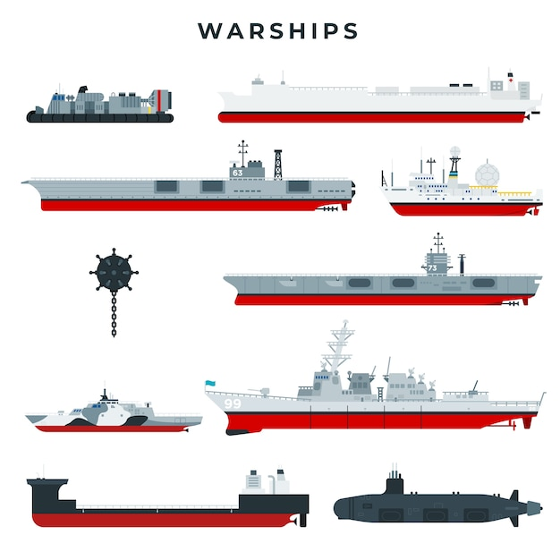 Warships of different types set Premium Vector