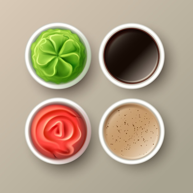 わさび、ピンクの漬物生姜、醤油、タヒニソースはベージュの背景に分離された上面図をクローズアップ Premiumベクター