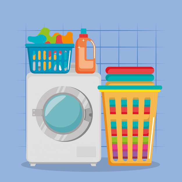 Wash machine with laundry service icons Free Vector