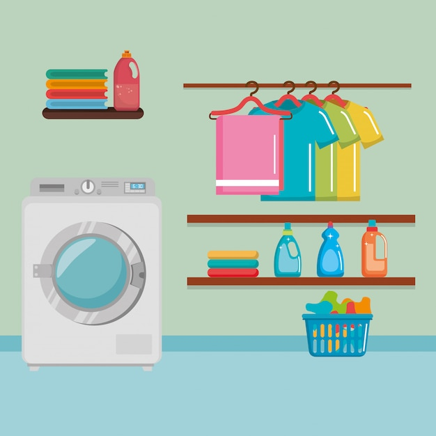 Wash machine with laundry service icons | Free Vector