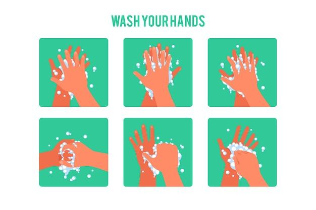 Помой руки Бесплатные векторы