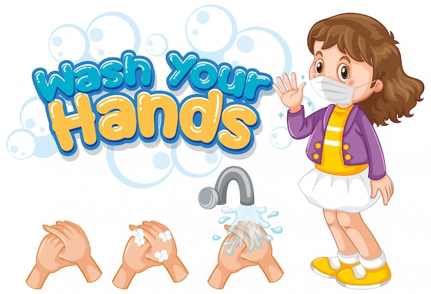 Wash your hands font design with girl wearing mask Free Vector