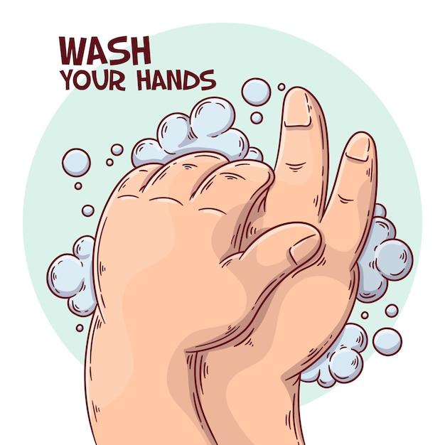イラストのテーマを手洗い 無料ベクター