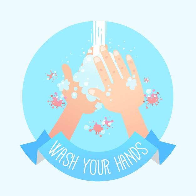 手を洗うイラスト 無料ベクター