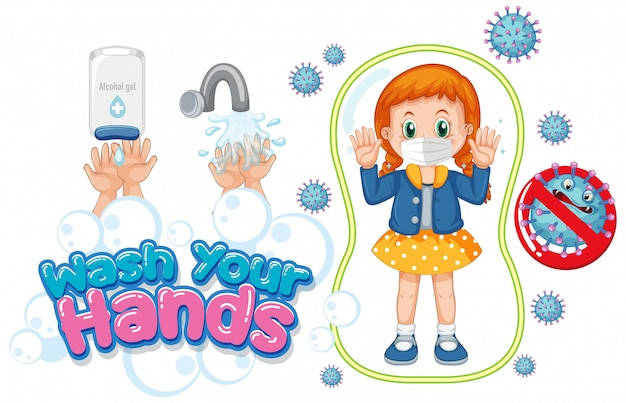 Wash your hands poster design with girl wearing mask Free Vector