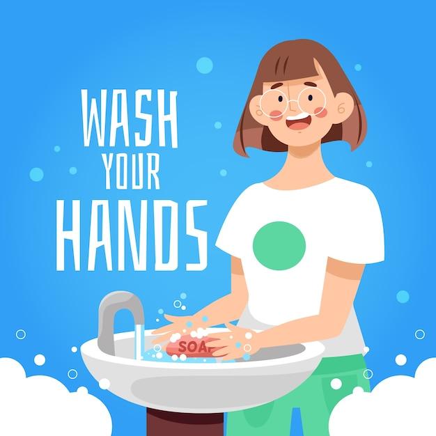 手を洗いなさい 無料ベクター