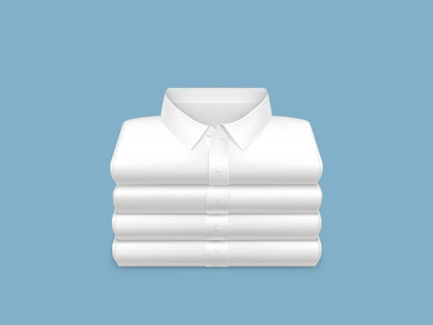 Washed, clean, ironed and folded in stack white shirts 3d realistic Free Vector