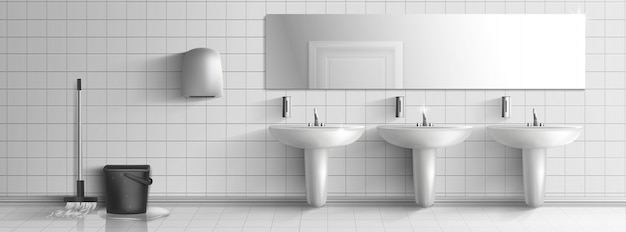 Washed and clean public toilet interior Free Vector