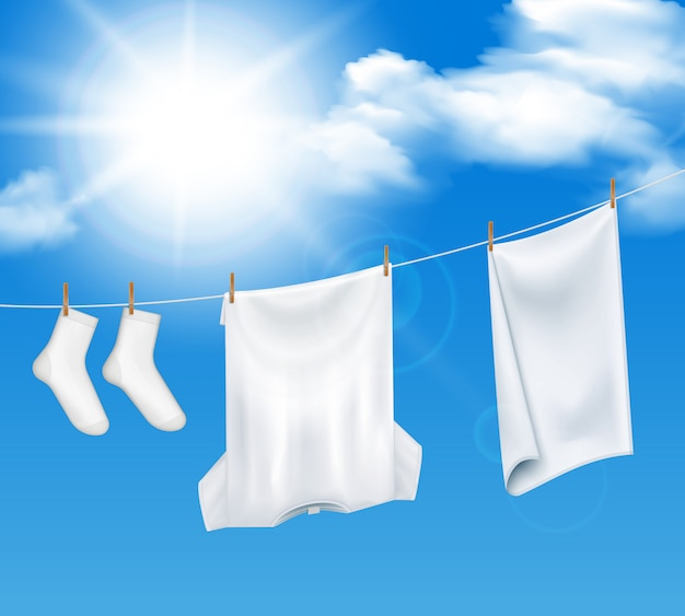 Washed laundry sky composition Free Vector