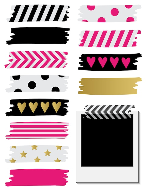 Washi tape collection. Premium Vector
