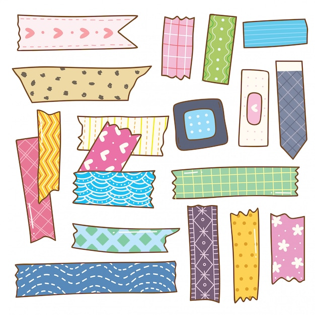 Washi tape doodle isolated on white Premium Vector