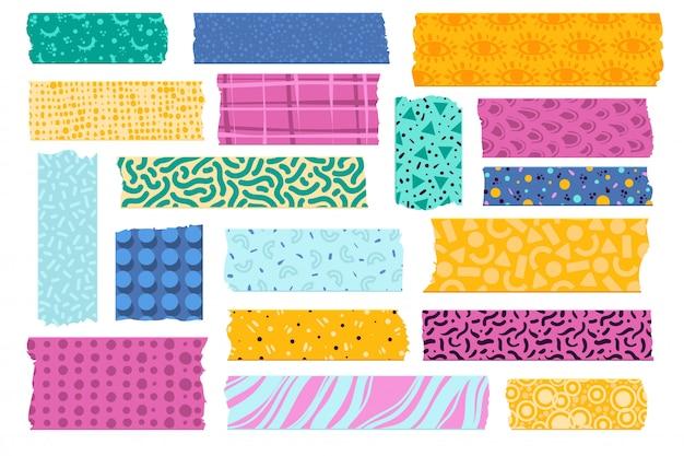 와시 테이프. 사진 장식용 일본 종이 테이프, 다채로운 패턴 스카치 스트립. 찢어진 된 직물 테두리 스티커 세트 프리미엄 벡터