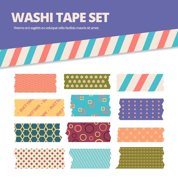 와시 테이프 세트. 다채로운 원본 트레이서 리가있는 일본 줄무늬 스티커, 귀여운 분홍색, 녹색, 파란색, 종이 접기 소재의 장식 리본, 스크랩북. 프리미엄 벡터