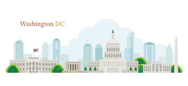 Washing dc skyline concept Premium Vector