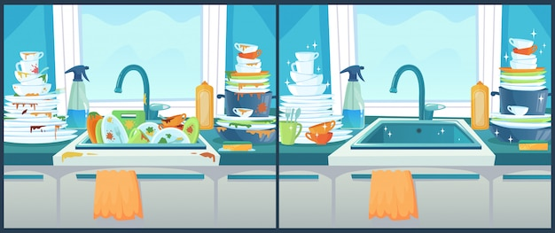 Washing dishes in sink. dirty dish in kitchen, clean plates and messy dinnerware cartoon  illustration Premium Vector