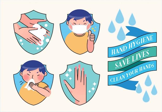 洗濯手指衛生衛生イラスト Premiumベクター