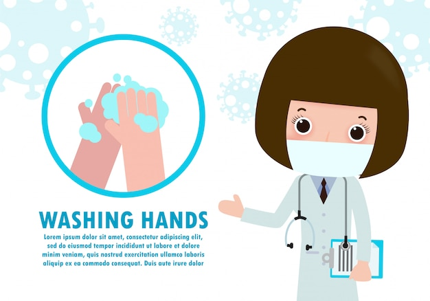 Washing hand with antibacterial had sanitizer, alcohol gel cute character. hand sanitizer, symbol in cartoon flat illustration   isolated Premium Vector