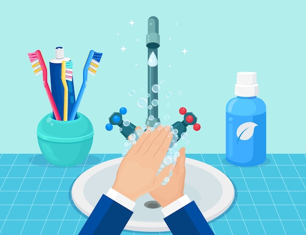 流しに石鹸で手を洗ってください。個人の衛生概念。 Premiumベクター