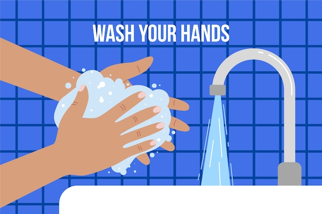 バスルームで石鹸で手を洗う Premiumベクター