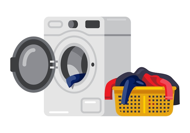 Washing machine and dirty clothes in the laundry basket Premium Vector