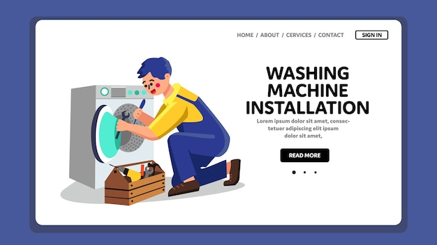Работа сантехника по установке стиральной машины Premium векторы