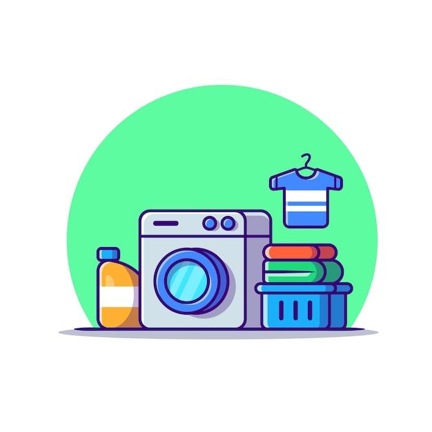 Washing machine laundry set cartoon icon illustration. technology fashion icon concept isolated . flat cartoon style Free Vector