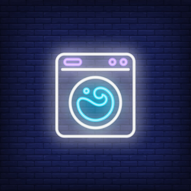 Washing machine neon sign Free Vector