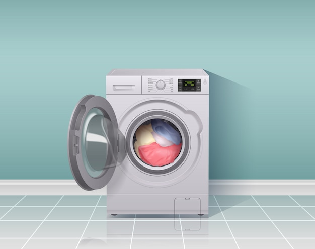 Washing machine realistic composition with housework equipment symbols  illustration Free Vector